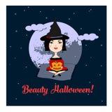 Иллюстрация для хеллоуина/милой ведьмы Стоковая Фотография