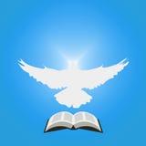 Иллюстрация для христианской общины: Голубь как святой дух и раскрытая библия Стоковые Изображения RF