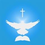 Иллюстрация для христианской общины: Голубь как святой дух, крест, библия Стоковое Изображение