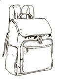 иллюстрация backpack изолировала одну белизну стоковые изображения rf