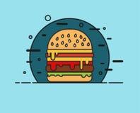 Иллюстрация Cheeseburger плоская Стоковое фото RF