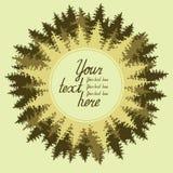 Иллюстрация coniferous леса с местом для Стоковые Фотографии RF