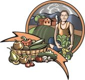 Иллюстрация Countrylife и обрабатывать землю в стиле Woodcut Стоковые Изображения