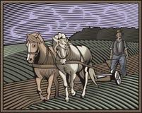 Иллюстрация Countrylife и обрабатывать землю в стиле Woodcut Стоковые Изображения RF