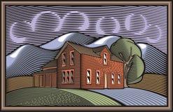 Иллюстрация Countrylife и обрабатывать землю в стиле Woodcut Стоковые Фотографии RF