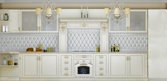 иллюстрация 3D белой кухни в классическом стиле иллюстрация штока
