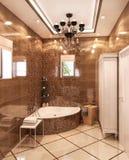 иллюстрация 3D ванной комнаты в неоклассическом стиле Стоковое Изображение RF