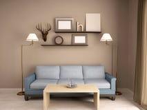 иллюстрация 3D внутренней живущей комнаты с софой Стоковые Изображения RF