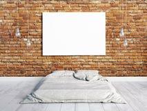 иллюстрация 3d, внутренняя с кроватью Стоковая Фотография RF