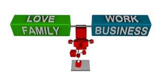 Иллюстрация 3d в балансе (влюбленность, семья) с (работа, дело) Стоковые Фотографии RF