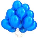 иллюстрация 3D голубого гелия партии раздувает украшение дня рождения Стоковое фото RF