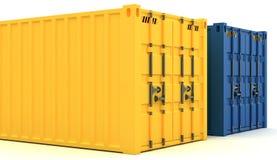иллюстрация 3D грузовых контейнеров изолированных на белизне Стоковая Фотография RF
