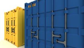 иллюстрация 3D грузовых контейнеров изолированных на белизне Стоковое Изображение RF