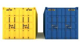 иллюстрация 3D грузовых контейнеров изолированных на белизне Стоковые Фотографии RF