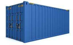 иллюстрация 3D грузовых контейнеров изолированных на белизне Стоковые Изображения