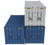 иллюстрация 3D грузовых контейнеров изолированных на белизне Стоковое Изображение