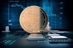 иллюстрация 3d золотых bitcoins на материнской плате компьютера Стоковое Фото