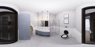 иллюстрация 3D дизайна интерьера ванной комнаты Стоковое Изображение RF