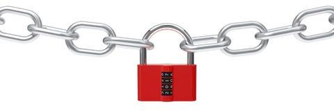 иллюстрация 3d красного padlock с кодом Стоковые Фото