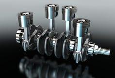 иллюстрация 3d кривошина с поршенями двигателя Стоковые Фотографии RF