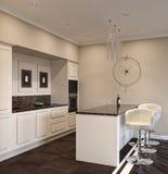 иллюстрация 3D кухни острова Стоковое Изображение RF