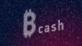 иллюстрация 3d наличных денег bitcoin, новых виртуальных денег на цифровой предпосылке Стоковые Фото
