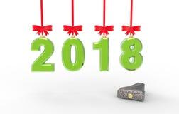 Иллюстрация 3d Нового Года 2018 Стоковая Фотография RF