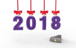 Иллюстрация 3d Нового Года 2018 Стоковое Изображение RF