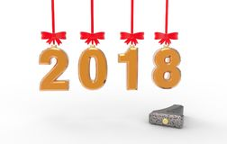 Иллюстрация 3d Нового Года 2018 Стоковое фото RF