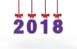 Иллюстрация 3d Нового Года 2018 Стоковая Фотография