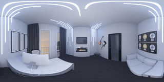 иллюстрация 3d домашнего офиса в стиле космоса Стоковое Фото