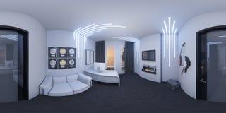 иллюстрация 3d домашнего офиса в стиле космоса Иллюстрация вектора