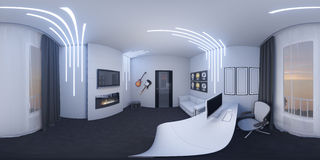 иллюстрация 3d домашнего офиса в стиле космоса Стоковая Фотография