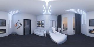 иллюстрация 3d домашнего офиса в стиле космоса Стоковые Изображения RF