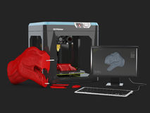 иллюстрация 3D оформления изделия 3D с принтером 3D Изолированная чернота Стоковые Фотографии RF