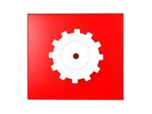 иллюстрация 3D сияющего cog над красной предпосылкой Стоковое Фото