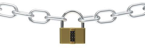 иллюстрация 3d padlock с кодом Стоковые Фото