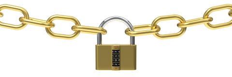 иллюстрация 3d padlock с кодом Стоковое Фото