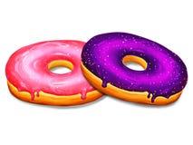 Иллюстрация 2 donuts с пинком и фиолетовая полива на белой предпосылке Стоковое Изображение RF
