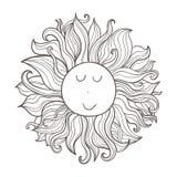 Иллюстрация doodle вектора небесная Нарисованное рукой милое смешное солнце характера Стоковая Фотография RF