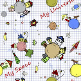 Иллюстрация doodle космической безшовной предпосылки стилизованная нижняя на странице тетради школы Предпосылка космоса ребяческа Стоковое фото RF