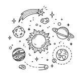 Иллюстрация Doodle космоса Стоковое Изображение