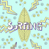 Иллюстрация doodle доски серфинга Стоковое Изображение