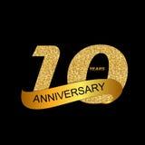 Иллюстрация EPS10 вектора годовщины логотипа шаблона 10th Стоковые Изображения RF