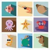 Иллюстрация eps10 значка морской флоры и фауны установленная Стоковые Фотографии RF