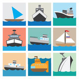 Иллюстрация eps10 значка шлюпки установленная Стоковые Фото