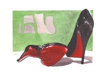Иллюстрация fasion акварели с louboutin ботинок Стоковая Фотография RF