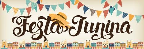 Иллюстрация Festa Junina вектор знамени eps10 наслоенный архивом Латино-американский праздник Стоковые Фото