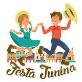 Иллюстрация Festa Junina - традиционная партия фестиваля Бразилии июня Иллюстрация вектора