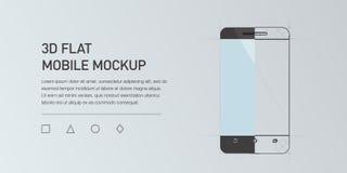 Иллюстрация Minimalistic плоская мобильного телефона Smartphone модель-макета родовой Стоковое Изображение